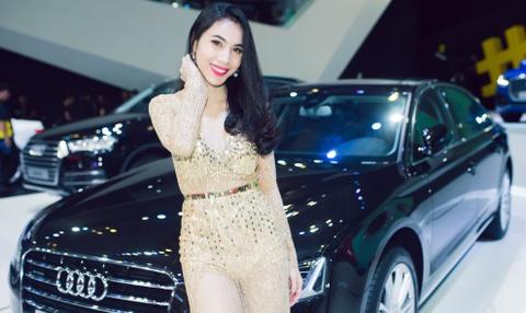 Thuy Tien goi cam ben dan xe sang Audi hinh anh