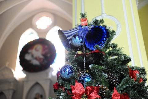 Cac nha tho chuan bi don Giang sinh hinh anh 9 Và những cây thông được trang trí bên hai bên thánh đường.