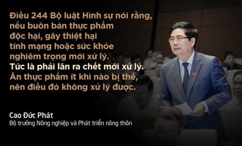 10 phat ngon an tuong tai Quoc hoi hinh anh 6 Bộ trưởng Phát đề nghị Quốc hội sửa đổi Điều 155 và Điều 244 (Bộ luật Hình sự) để có cơ sở pháp lý mạnh xử lý những vi phạm nghiêm trọng về an toàn thực phẩm.