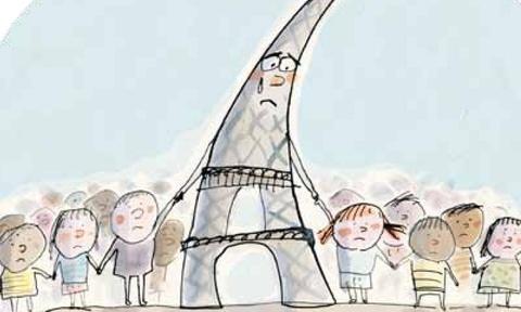 Phap in tranh giai thich voi tre em ve vu khung bo Paris hinh anh