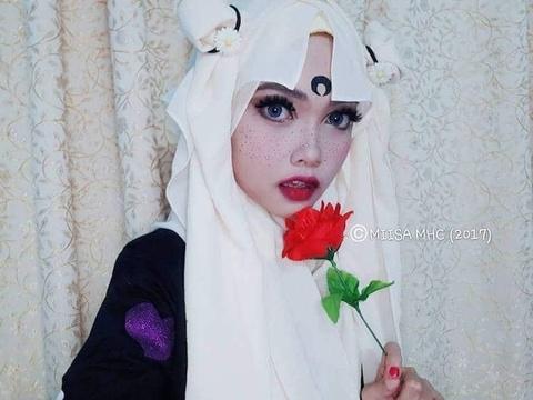 9X Malaysia hoa trang tai tinh voi khan trum dau truyen thong hinh anh