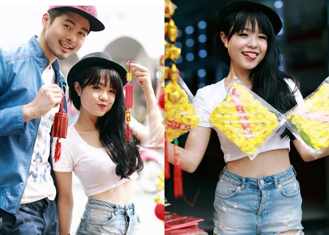 Thai Trinh mac crop top khoe eo thon ben hot boy Top Model hinh anh