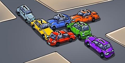 Đố bạn chỉ cần lùi chiếc xe nào để giải thoát cảnh tắc đường?