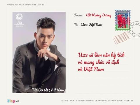 Huong Tram, Soobin Hoang Son gui thiep chuc U23 Viet Nam hinh anh 1