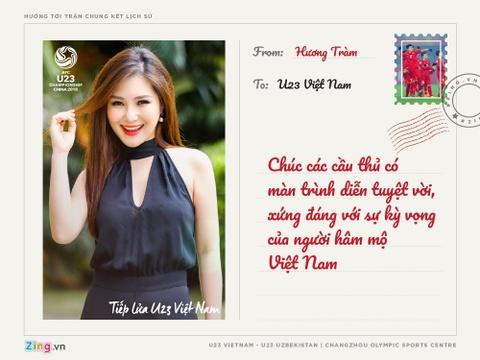 Huong Tram, Soobin Hoang Son gui thiep chuc U23 Viet Nam hinh anh 5