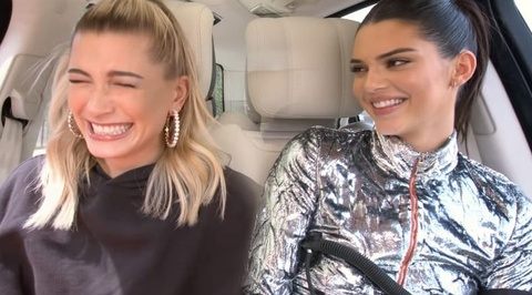 Kendall Jenner va vo Justin Bieber vua hat vua nhun nhay trong xe hoi hinh anh