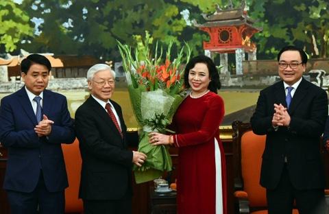 Tong bi thu Nguyen Phu Trong chuc Tet tai Thanh uy Ha Noi hinh anh