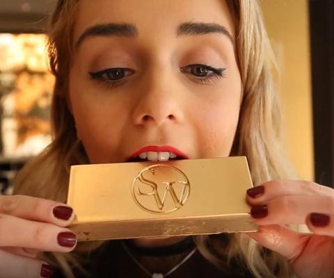 Khoi chocolate vang 23 carat de lam trang mieng o Las Vegas hinh anh