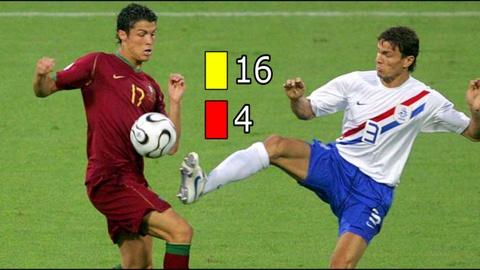 Xem C.Ronaldo bi 'triet ha' o tran dau nhieu the phat nhat World Cup hinh anh