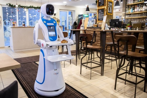 Robot phuc vu tai quan ca phe o Budapest, Hungary hinh anh