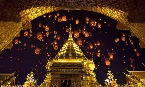Troi dem Chiang Mai huyen ao trong le hoi den troi Yee Peng hinh anh