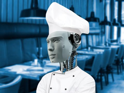 sap toi thoi an uong do robot phuc vu hinh anh