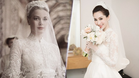 Dang Thu Thao 'trung' y tuong vay cuoi voi cong nuong Grace Kelly hinh anh