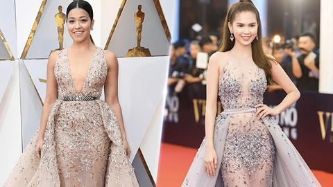Sao Hollywood dien vay giong Ngoc Trinh tren tham do Oscar? hinh anh