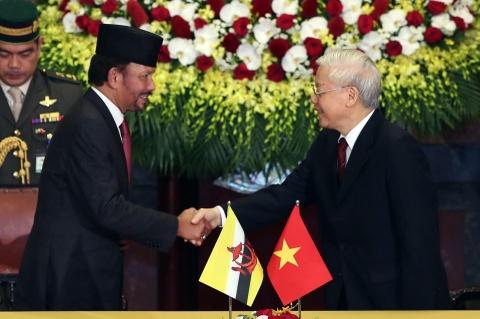Quoc vuong Brunei bat dau tham cap nha nuoc den Viet Nam hinh anh 1