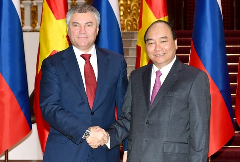 Thu tuong Nguyen Xuan Phuc tiep chu tich Duma quoc gia Nga hinh anh