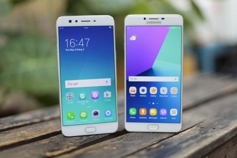 So thiet ke Samsung Galaxy C9 Pro voi Oppo F3 Plus hinh anh