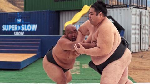 Clip slow motion khoanh khac hai vo si sumo thi dau hinh anh