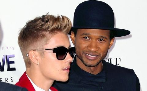 Justin Bieber va Usher ra hau toa vi dao nhac hinh anh