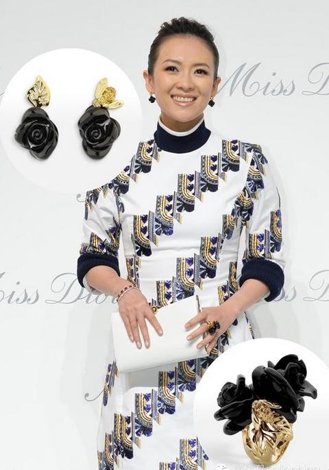 My nhan Hoa ngu chuong trang suc dat tien di su kien hinh anh 8 Chương Tử Di tham dự một sự kiện của thương hiệu Dior ở Bắc Kinh. Nữ diễn viên đeo nhẫn và bông tai dòng Rose Dior Pré Catelan cùng chiếc vòng ruby đỏ.