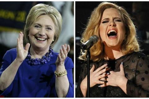 Gac chuyen bau cu, Hillary Clinton den xem Adele bieu dien hinh anh