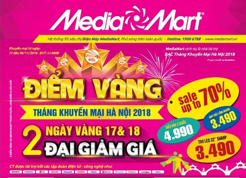 MediaMart giảm tới 70% trong 2 ngày vàng của Tháng khuyến mại Hà Nội