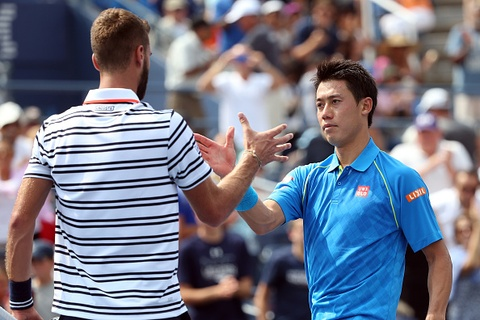 Vong 1 US Open 2015: Nishikori 2-3 Paire hinh anh