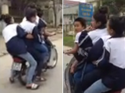 Clip nu sinh kep 5 danh vong tren duong hinh anh