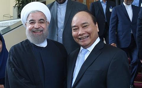 Thu tuong Nguyen Xuan Phuc hoi kien Tong thong Iran hinh anh