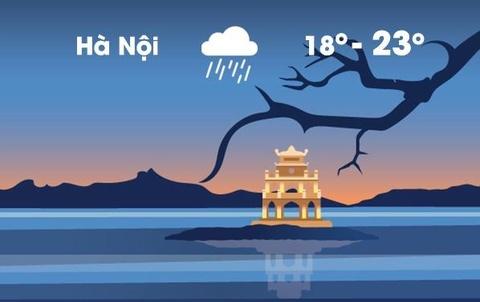 Thời tiết ngày 23/2: Hà Nội mưa dầm dề cả ngày, trời lạnh 18 độ C