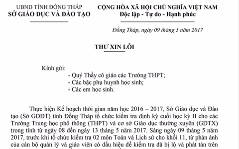 Giam doc So GD&DT Dong Thap xin loi vi su co lo de thi hinh anh