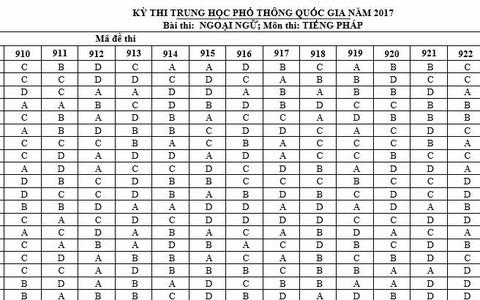 Dap an mon Tieng Phap ky thi THPT quoc gia 2017 hinh anh