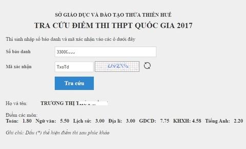Tra cuu diem thi THPT quoc gia 2017 cua tinh Thua Thien - Hue hinh anh