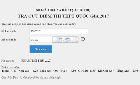 Tra cuu diem thi THPT quoc gia 2017 cua tinh Phu Tho hinh anh
