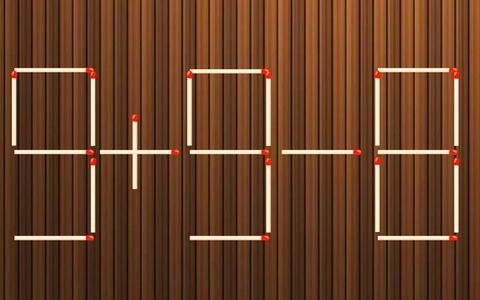 Di chuyển một que diêm để sửa phép tính 9 + 8 - 3 = 3