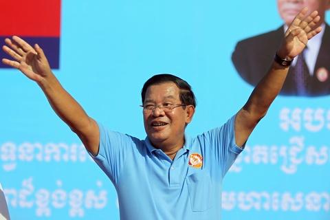 Thu tuong Hun Sen bat ngo di van dong tranh cu hinh anh