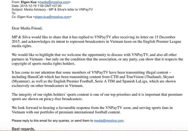MP & Silva ra dieu kien de dam phan ban quyen NH Anh hinh anh 1 Email của MP & Silva gửi đến giới truyền thông Việt Nam sáng 19/12.