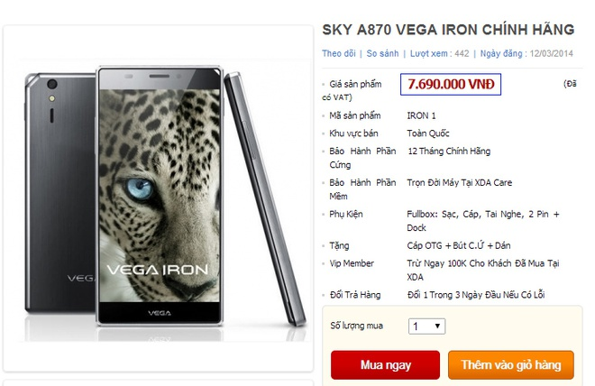 Vega Iron chinh hang ban duoi gia de xuat ca trieu dong hinh anh 1