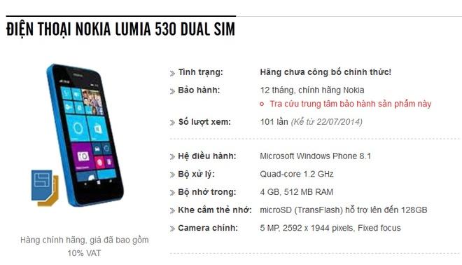 Lumia 530 hai SIM, chip 4 nhan, ban o VN thang 8 hinh anh