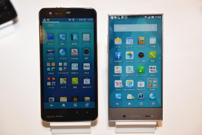 Ảnh thực tế bộ đôi smartphone không viền Sharp Aquos Crystal