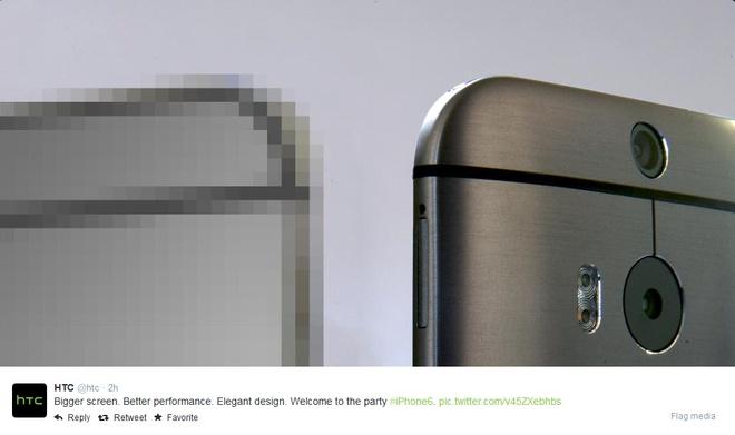 Sony, HTC dua nhau choc ngoay Apple va iPhone 6 hinh anh 3 Dòng tweet với mục đích trêu ghẹo iPhone 6 của Apple từ HTC.