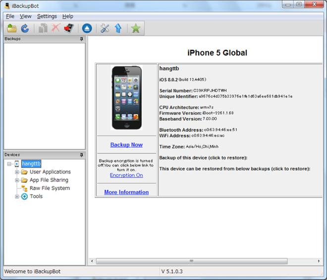 Cach kiem tra do chai pin khi mua iPhone cu hinh anh 5 Thông tin iPhone trên giao diện iBackupBot