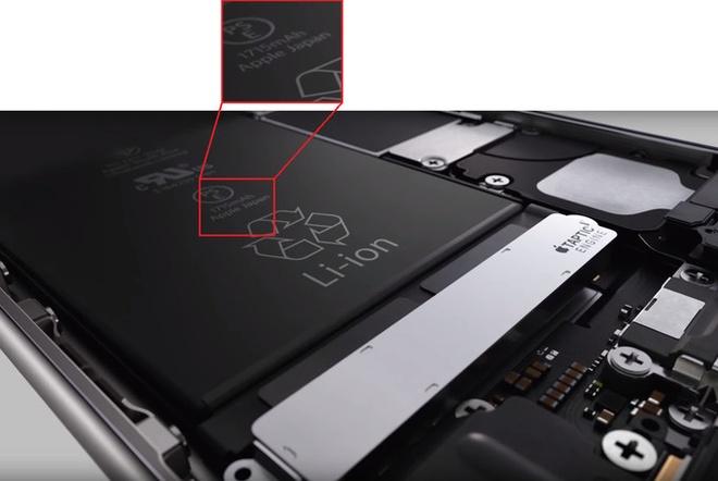 Pin cua iPhone 6S co dung luong nho hon iPhone 6? hinh anh 1 Hình ảnh trích từ đoạn quảng cáo cho thấy iPhone 6S dùng pin 1.715 mAh.