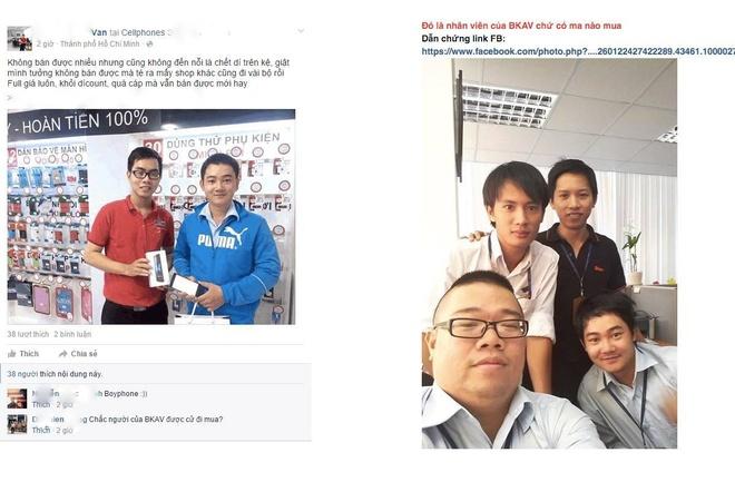 Bkav bi nghi ngo cu nhan vien mua lai Bphone tu dai ly hinh anh 1 Hình ảnh người mua Bphone tại cửa hàng CellphoneS và người được cho là nhân viên Bkav đăng tải trên một diễn đàn công nghệ tại Việt Nam.