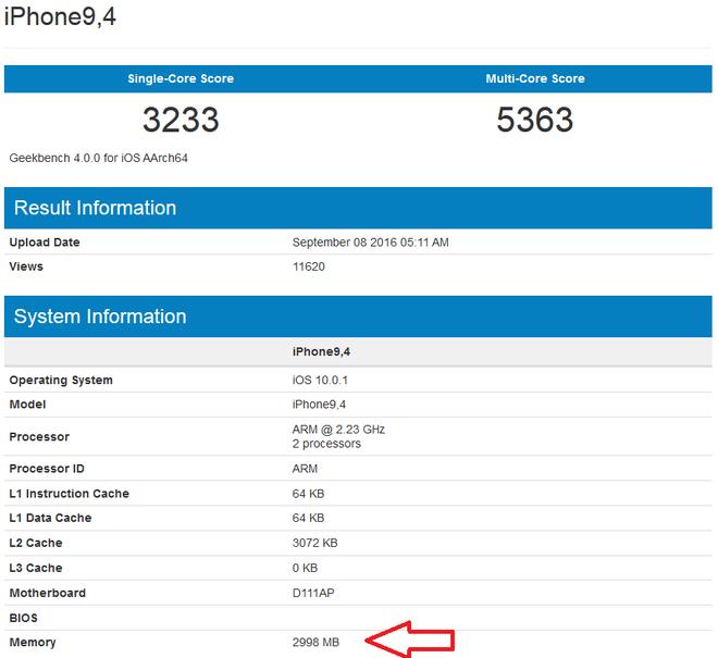 iPhone 7 Plus RAM 3 GB, anh 1