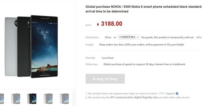 Nha ban le Trung Quoc nhan dat truoc Nokia 8 gia 465 USD hinh anh 1