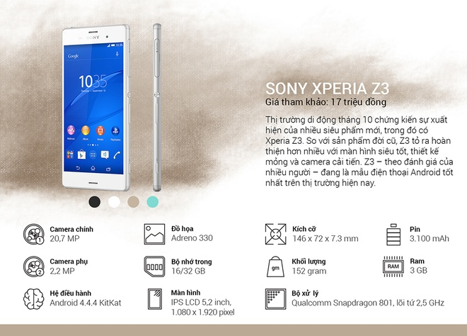 Binh chon top 10 smartphone tot nhat thang 10 hinh anh 7 Sony Xperia Z3