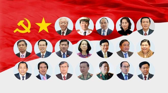 Infographic tieu su 19 uy vien Bo Chinh tri khoa XII hinh anh