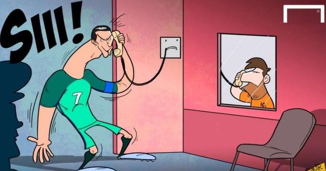 Biem hoa Ronaldo goi dien tham Messi trong tu hinh anh