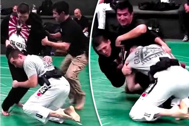 Cai ket bat ngo cho vo si MMA thach dau 2 canh sat hinh anh 1